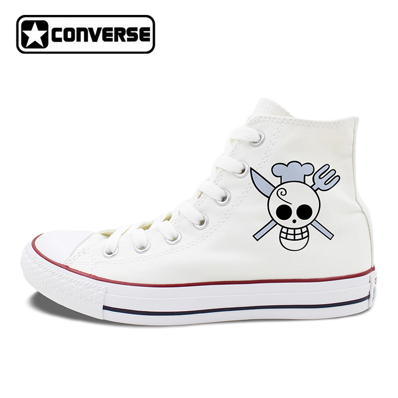 ONE PIECE Anime Sanji Jolly Roger Design Converse All Star Unisex Skateboarding Shoes High Top White Black Canvas Sneakers anime converse all star skateboarding shoes boys girls pokemon snorlax white black canvas sneakers design 2 colors