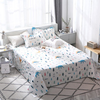 Colored Small Tree Pattern Bed Sheet 100% Cotton Mattress Protector Cover Flat Sheet 3Pcs Bedclothes Twin Full Queen King Size