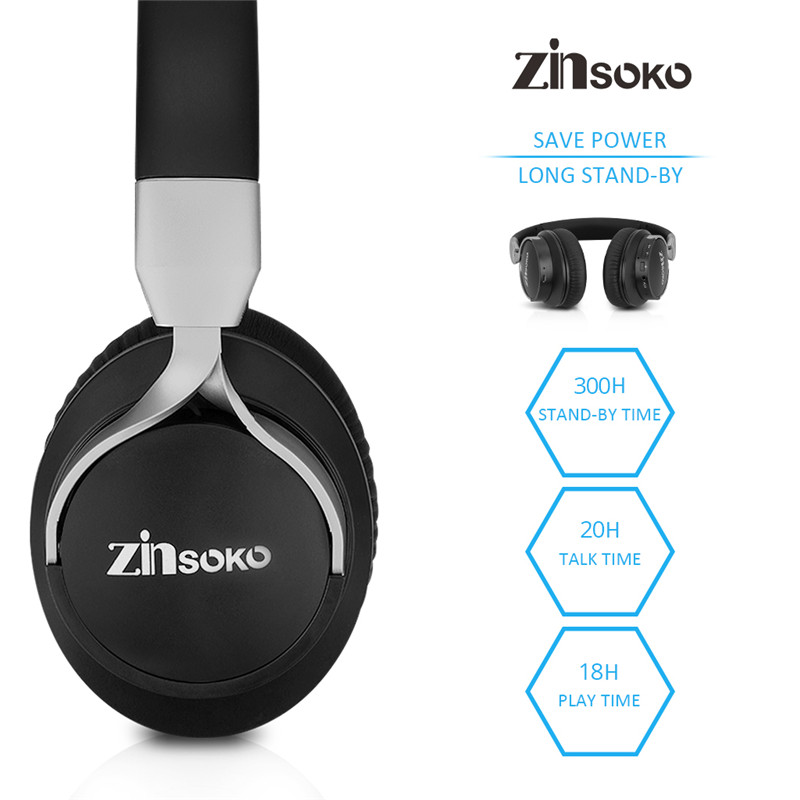 Zinsoko Bluetooth Headphone Noise Cancelling Stereo Bass Sound Over Ear Headset Wireless Earphone With Microphone 300Hrs Standby plufy bluetooth earphone headphone wireless speaker sport headphone bass stereo headset noise cancelling for iphone xiaomi l29