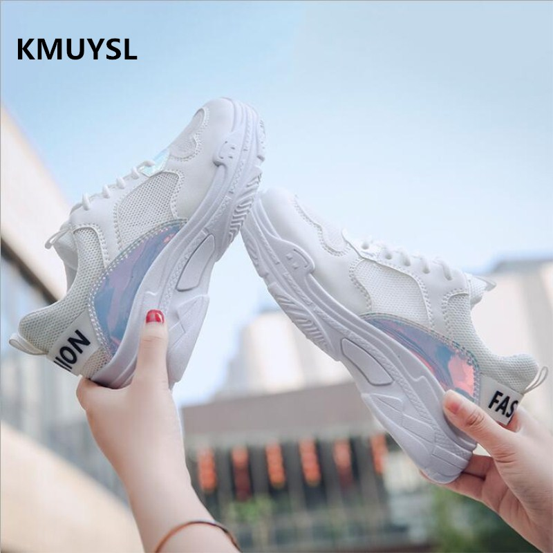 2018 Summer New Sneakers Fashion Woman Shoes Mesh Breathable Casual Shoes Popular Dad shoes Soft Sole Women Krasovki
