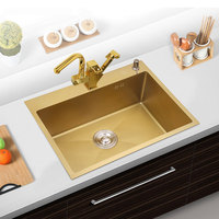 Kitchen Sink SUS304 Stainless Steel Kitchen Towel Undermount Basket Strainer Brushed Gold Single Bowel Stainless Sinks Kitchen