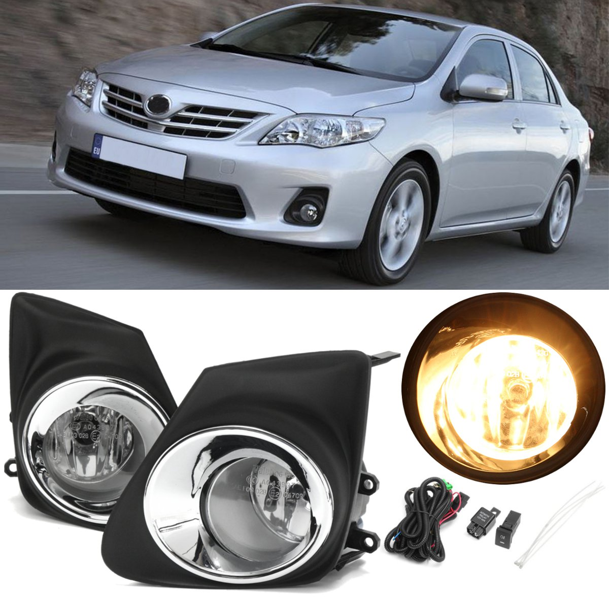 Pair Car Front Bumper Fog Lights Lamp With H11 Bulb Switch + 2pcs Grille Cover Yellow Lamp For <font><b>Toyota</b></font> <font><b>Corolla</b></font> <font><b>2011</b></font> 2012 <font><b>2013</b></font> New image