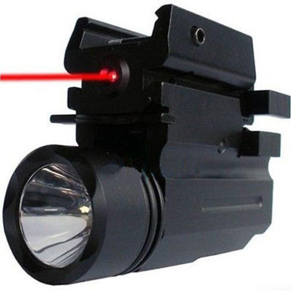 2 in1 Tactical 3 Model LED Flashlight + Red Dot Laser Sight Combo for Pistol Guns Glock 17,19,20,21,22,23,30,31,32