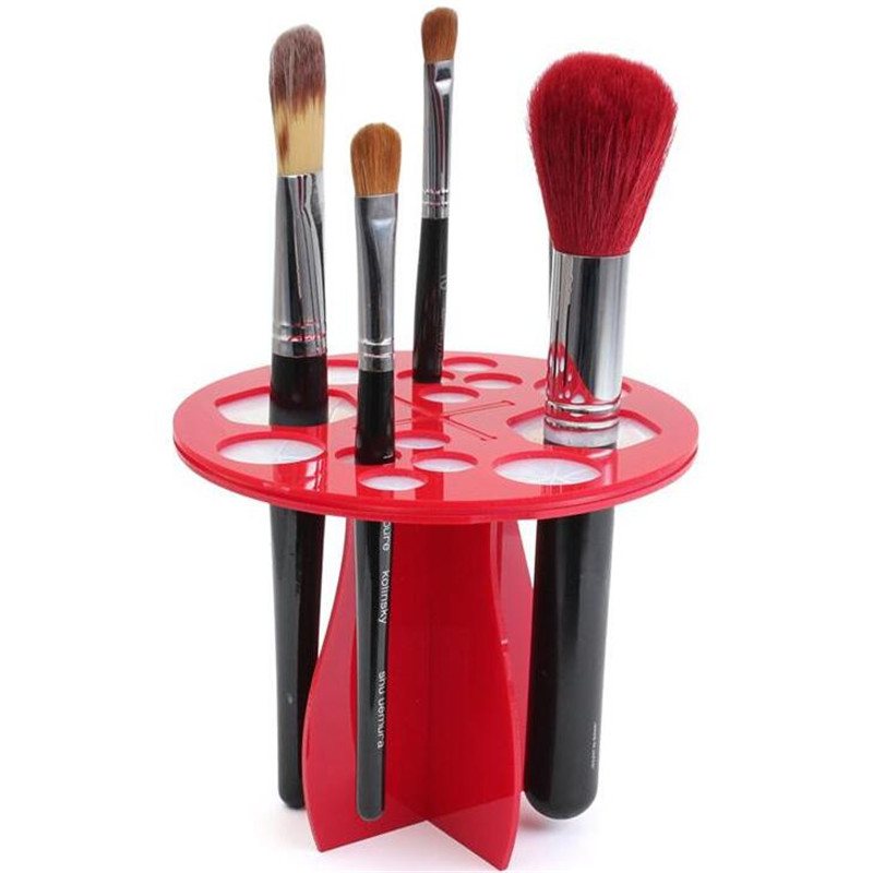 1PC Stand Makeup Rack Holder Acrylic Folding Air Drying Brush Cosmetic Artifact Round Type Without Brush I030 easy install brush drying rack tree for different standard holes random color