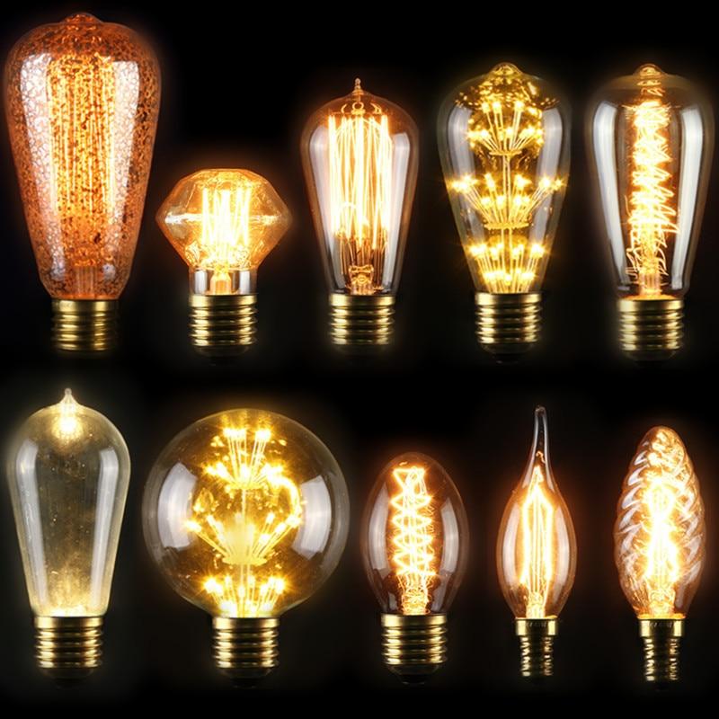 LED Vintage Edison Bulb E27 E14S 3W5W40W Retro Filament Tungsten Lamp Incandescent Light Christmas Decor Lighting Pendant Lamp