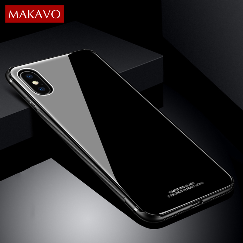 MAKAVO Tempered Glass Cover Case for Samsung Galaxy S8 / S8P / Note 8 for iPhone 7 8 Plus X ...