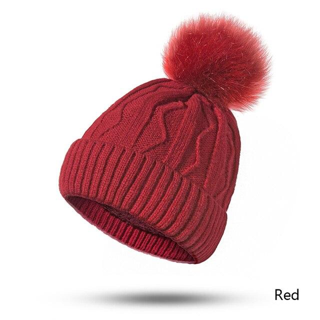 Evrfelan New Women Winter Hat Pompoms Hats Thick Knitted Winter Beanies For Female Fashion Beanies Skullies Women's Gift Hat