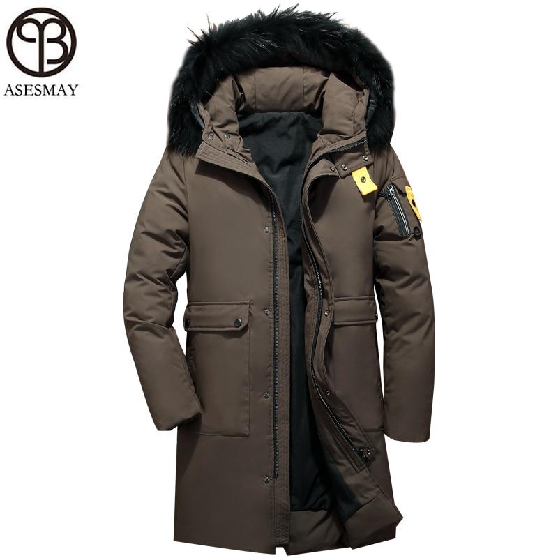 Asesmay 2018 hommes veste d'hiver blanc canard vers le bas manteaux hommes plume d'oie parka col de fourrure à capuche marron hommes vestes livraison gratuite