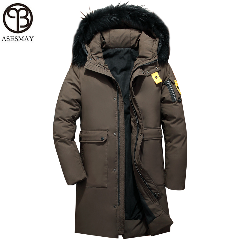 Asesmay 2018 men winter jacket white duck   down     coats   mens goose feather parka fur collar hooded brown male jackets free shipping