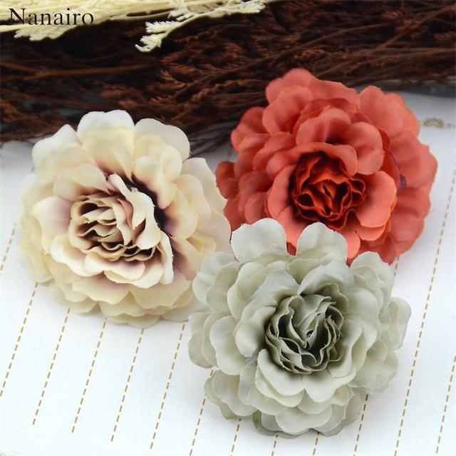 50pcs 6cm High Quality Silk Rose Artificial Flower Heads For Wedding