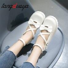 Lolita zapatos de mujer ulzzang harajuku kawaii lolita zapatos coreanos vintage agradable arco cosplay zapatos de mujer de tacón bajo blanco rosa