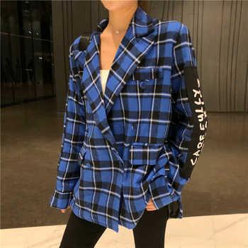 Cheerart Plaid Blazer Women Blazers And Jackets Coat Chic Korean Casual Blazer Blue Red White Patch Female Blazer Clothes