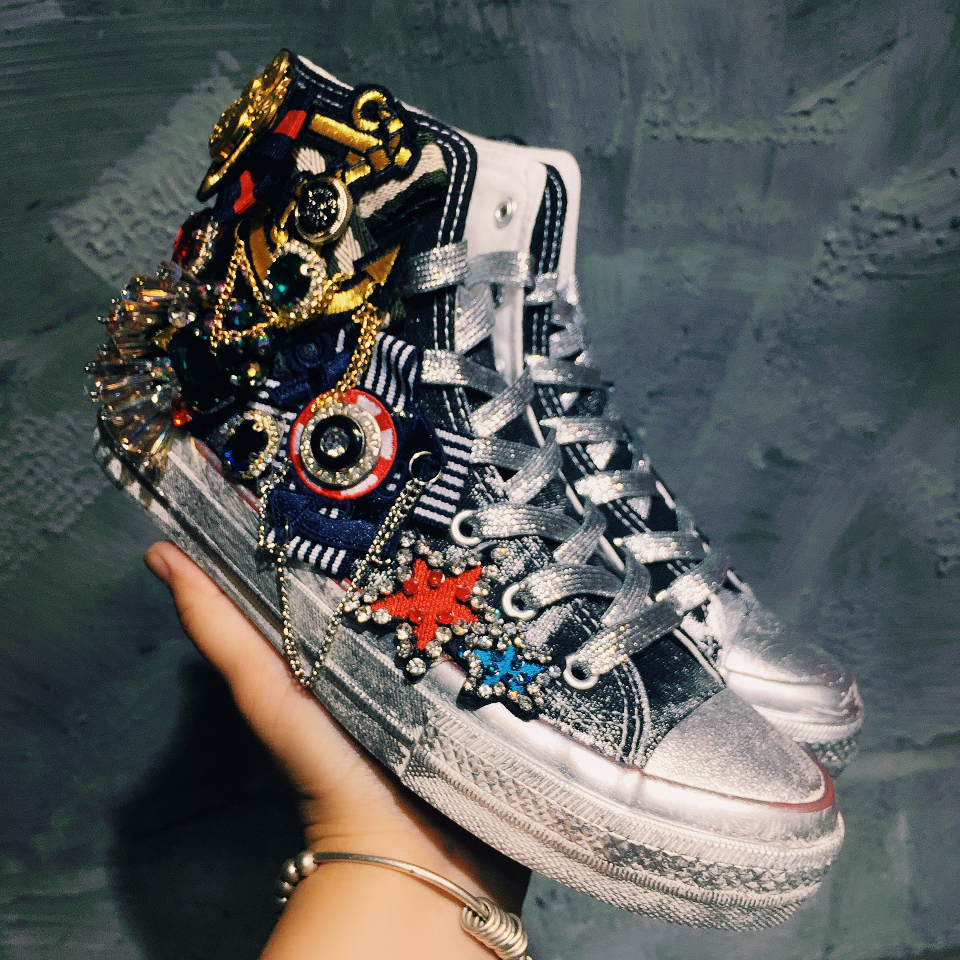 Retro Womens Heavy Metal Distressed Flats a Shoes Lace Up Rhinestones Metal Chain Round Toe Beads Pearls High/Low Top E47Retro Womens Heavy Metal Distressed Flats a Shoes Lace Up Rhinestones Metal Chain Round Toe Beads Pearls High/Low Top E47