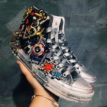 Retro Womens Heavy Metal Distressed Flats a Shoes Lace Up Rhinestones Metal Chain Round Toe Beads Pearls High/Low Top E47