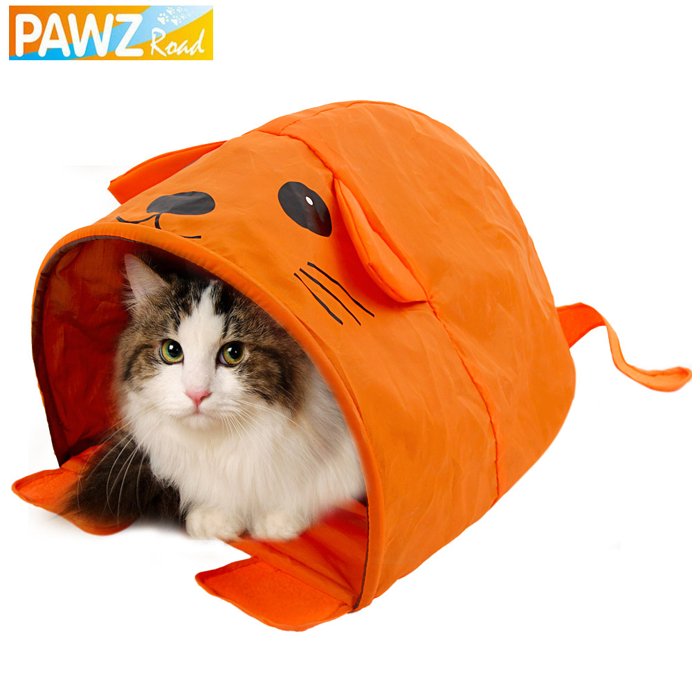 PAWZRoad Pet Cat Toys Cute Mouse Design Cat Tunnel Pet Toy More Fun Orange Color Tent Easy House for Pet Fashion Small Dog Beds