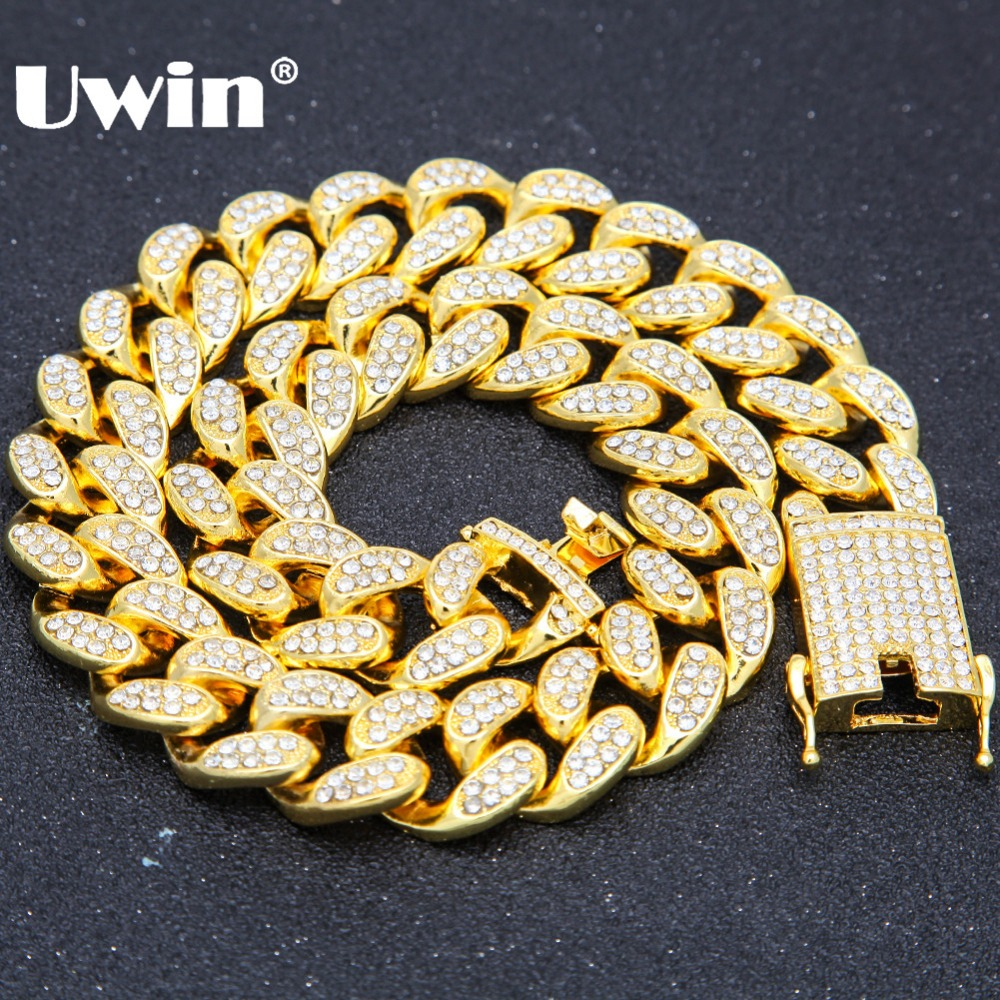 Uwin Alloy With AAA Iced Out Rhinestones Necklace 20mm Heavy Miami Cuban Link Chain Hiphop Gold Color Fashion Jewelry For MenUwin Alloy With AAA Iced Out Rhinestones Necklace 20mm Heavy Miami Cuban Link Chain Hiphop Gold Color Fashion Jewelry For Men