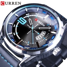 CURREN Calendar Display 3D Dial Fashion Black Silver Analog Casual Mens Quartz Sport Wrist Watches Top Brand Luxury Blue Leather