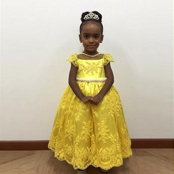 Lovely Yellow First Communion Dresses Girls Baby Ball gown Cap Sleeve Pearls Lace Bowknot Flower Girl Dresses for Wedding Party