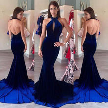 New Velvet Mermaid Evening Dress Halter Keyhole Front Backless Prom Gowns Custom