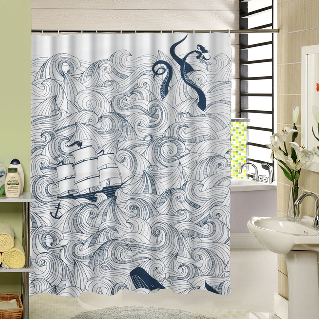 Shower Curtain White And Black Octopus Design 3d Printing