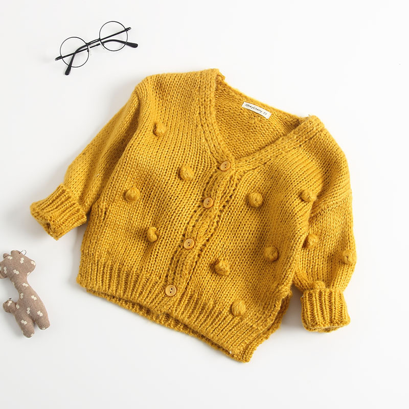 2018 Autumn New Arrival cotton pure color fashion all-match Knitted Hand-made Cardigan Sweater Coat for cute sweet baby girls