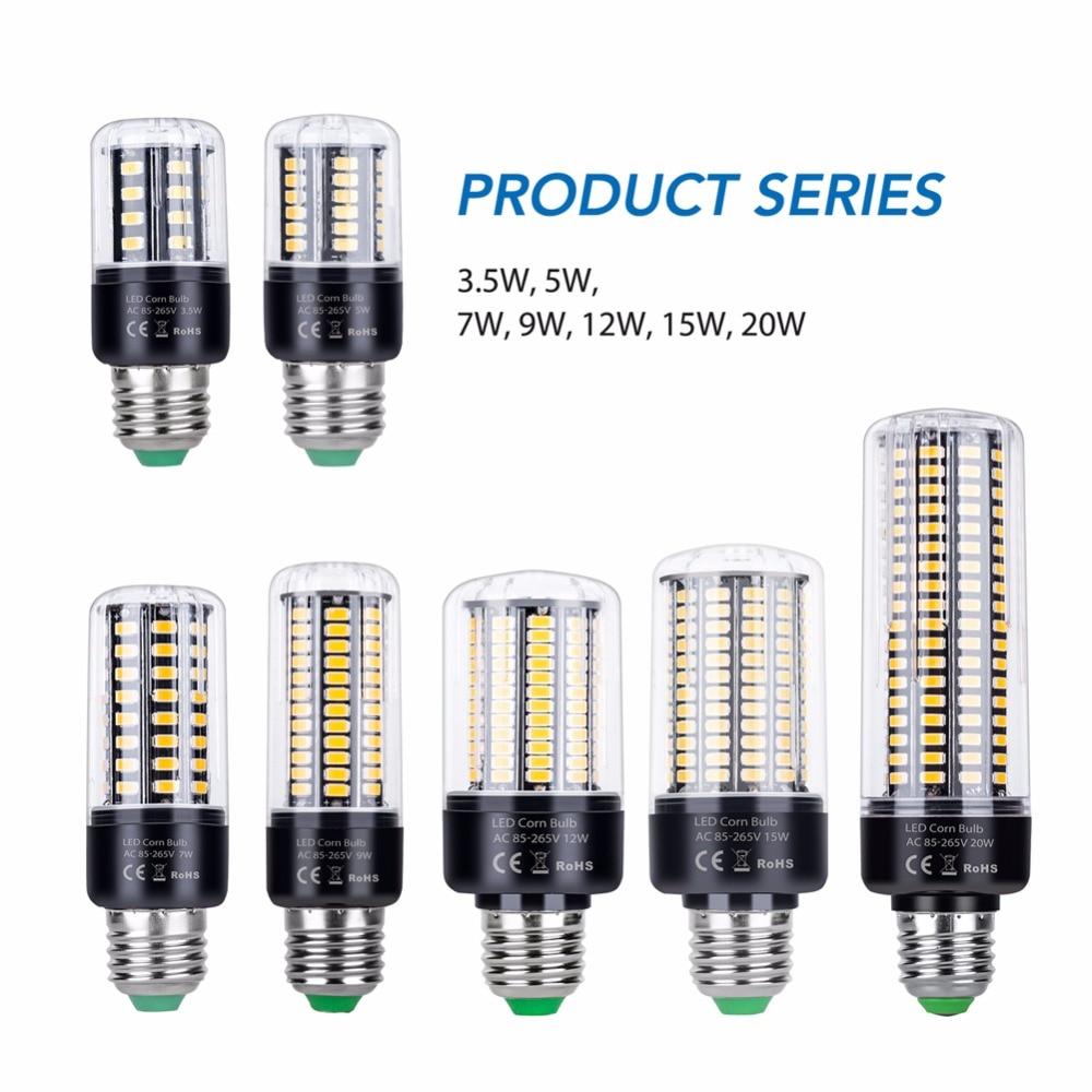 Lampada LED E27 Lamp AC85-265V E14 Led Corn LightBulb 220V Bombillas Led Lamp 3.5W 5W 7W 9W 12W 15W 20W High Power No Flicker