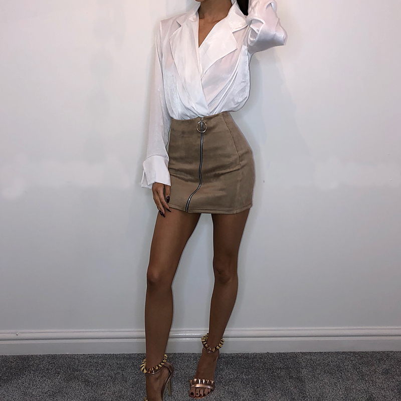 New 2018 Women Ladies High Waisted Pencil Skirt Inclined Zipper Bodycon Suede Leather Mini Skirt Club Skirts