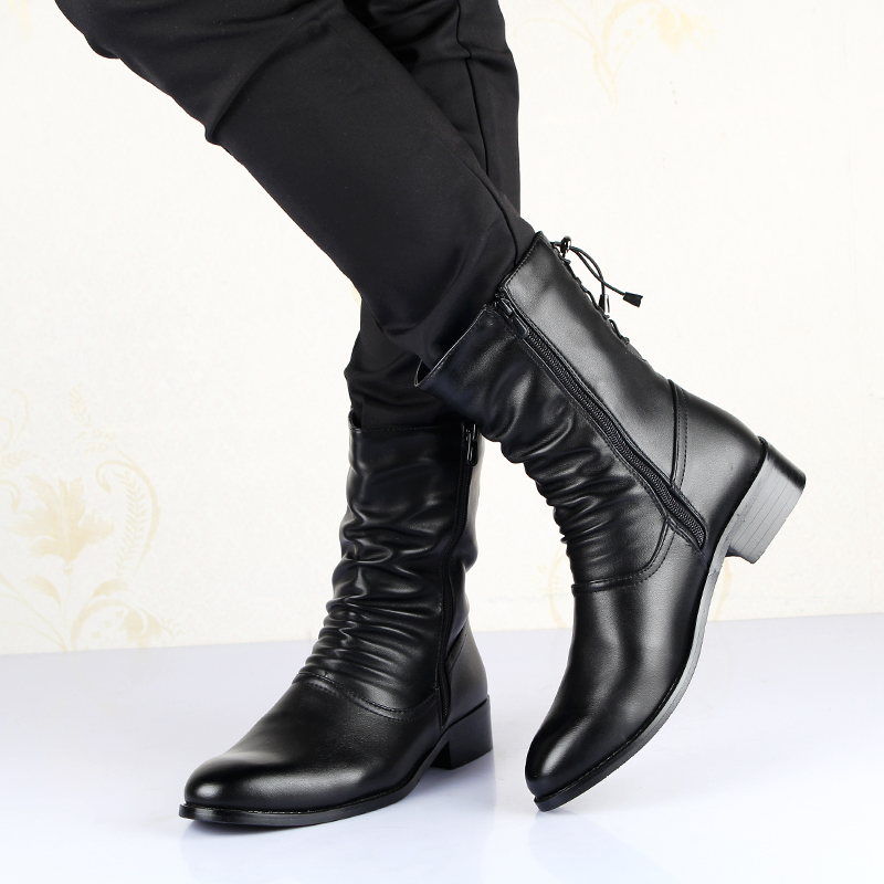 aa497aed85ba New Autumn Winter Warm Boots Men Fashion Pointed Soft Leather Boots British  Style Genuine Leather Mid calf Boots Martin Man Shoe on Aliexpress.com