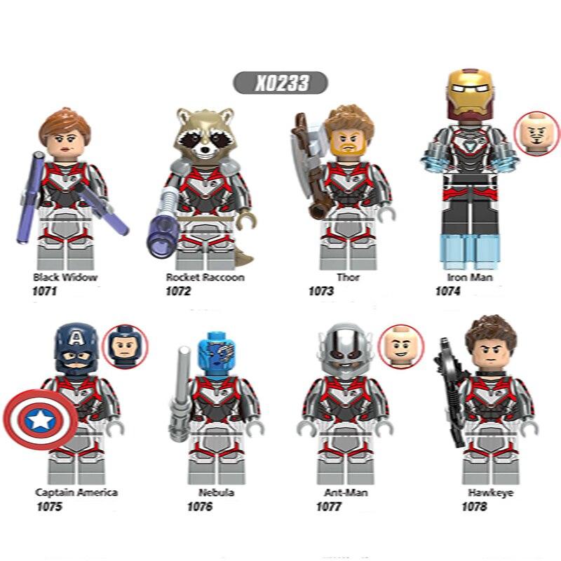 Single Sale LegoINGlys Super Heroes Avengers 4 Endgame War AttackBlack Widow Rocket Raccoon Minifigure Bricks Toys Children Gift