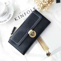 Zipper Oil Colour Lock Purse Women 2017 New Long Wallet Female Korean Retro Leather Large Capacity
