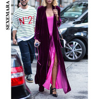 BOOFEENAA Purple Velvet X long Trench Coat Autumn Winter 2019 Fashion Luxury Long Coats Ladies Kimono Cardigan Plus Size C28BZ67