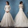 Luxury Long Sleeve Lace Wedding Dresses Mermaid robe de mariage Button Back Beaded vestido de noiva de renda 2017 Bridal Gowns