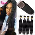 Natural Malaysian Straight Hair 4Bundles With Closure Rosa Hair Products Malaysian Straight Human Hair Weave Bundles WithClosure