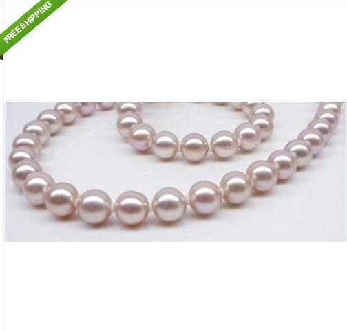 "18""10-11mm Natural AAA south sea PINK PURPLE pearl necklace 14K"
