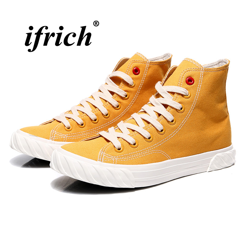 New Canvas Footwear For Men Yellow Beige Casual Footwear Youth High Top Casual Brand Men Shoes New Arrival Walking Shoes Canvas 3