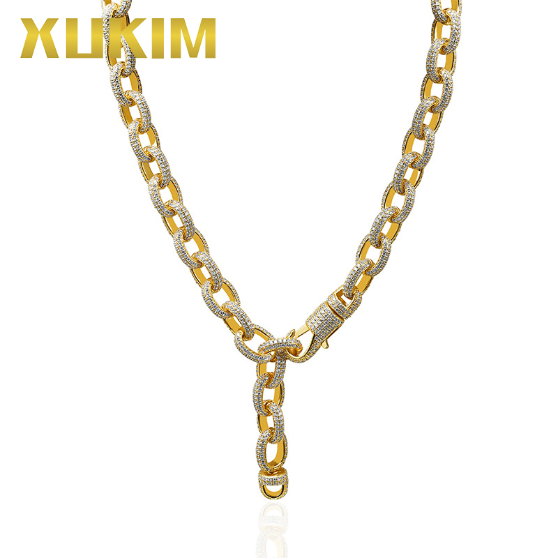 Xukim Jewelry Oval Twisted Big Clasp Iced Out Cubic Zircon Silver Gold Color Cuban Link Chain Necklace Hip Hop Jewelry Gift Xukim Jewelry Oval Twisted Big Clasp Iced Out Cubic Zircon Silver Gold Color Cuban Link Chain Necklace Hip Hop Jewelry Gift