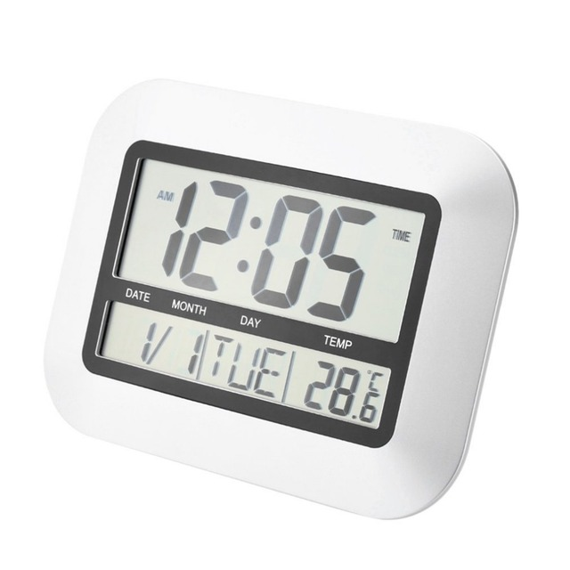 High Accuracy Self Setting Digital Home Office Decor Wall Clock With Indoor Temperature LCD Digital Temperature Meter TS-H128Y