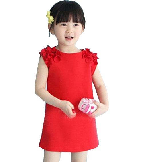 børn 2019 ny udenrigshandel blomst børn tøj 100% bomuld ærveløs fastvest pige kjole 2 3 4 5 6 7 år gammel