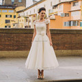 Vestido de noiva curto Romantic A Line Wedding Dress Ankle Length Scoop Cap Sleeve Lace Bridal Gown Flower Abito da sposa