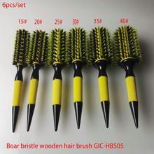 משלוח חינם עץ שיער מברשת עם חזיר זיפי לערבב ניילון סטיילינג כלים מקצועי עגול שיער מברשת GIC HB505 (6 יח\סט)