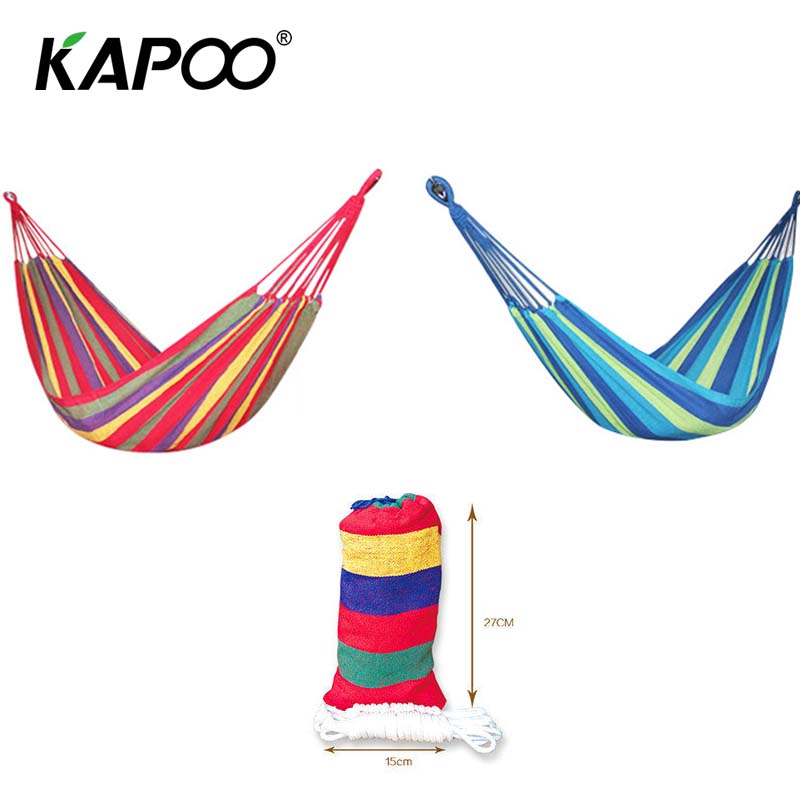 Portable Single Double Hammock Outdoor Leisure Canvas Hammock Outdoor Furniture Camping Hammock Picnic Mat Park Swing Chair blue leisure outdoor hammock portable parachute hammock outdoor furniture single double hammock picnic mat camping hammock