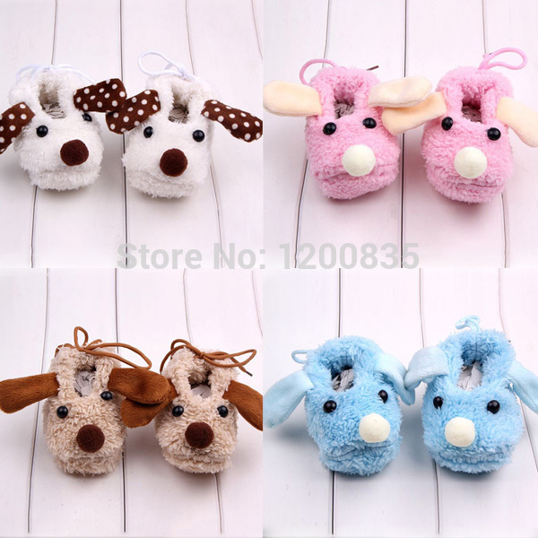 New Cartoon Animal Newborn Baby Anti-slip Slipper Fleece Shoes Socks Boots Prewalk Soft Bottom First Walkers
