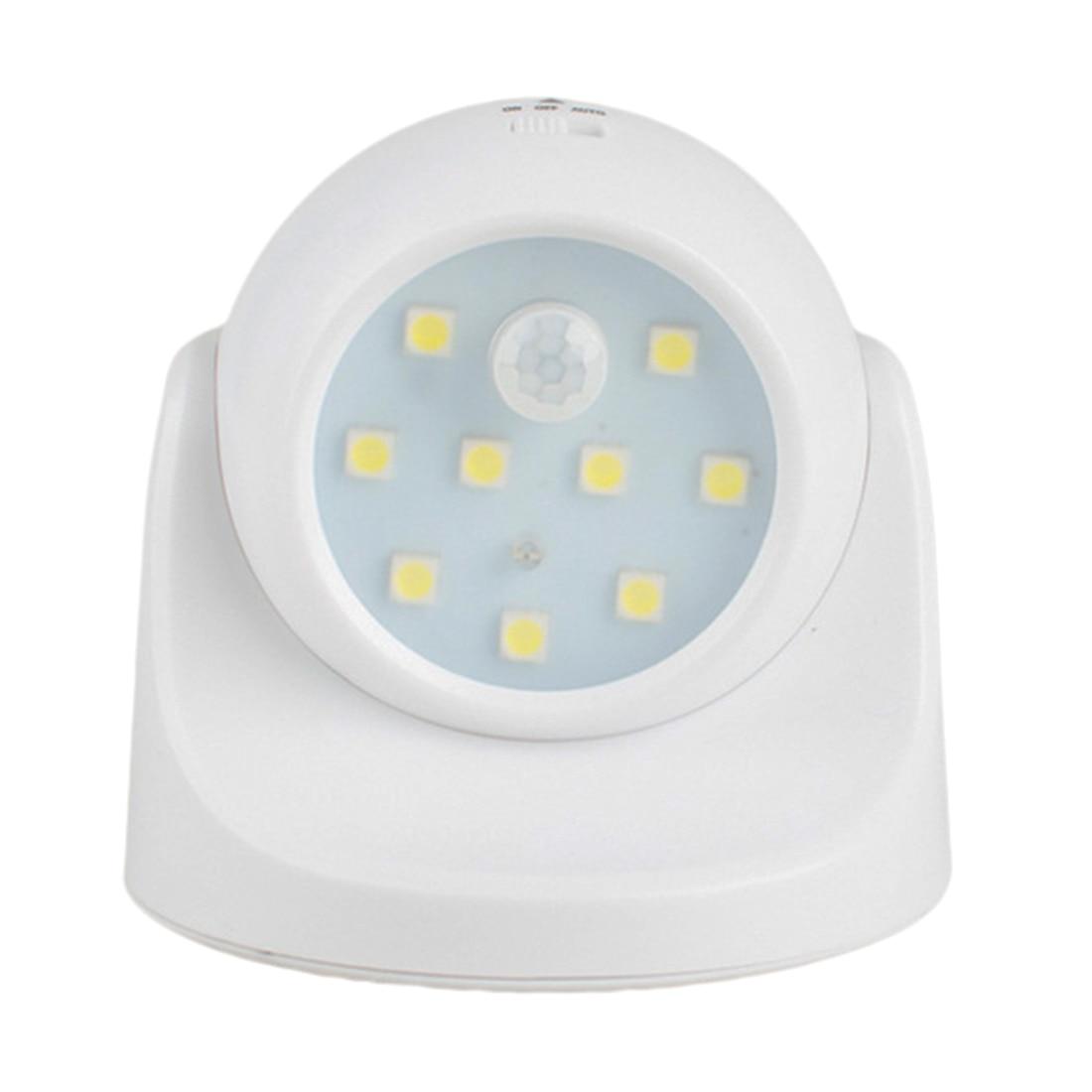 9 LED 360 Degree Rotation Motion Sensor PIR Night Light Battery Operated Corridor Wall Night Lamp For Closet Garages Hallway