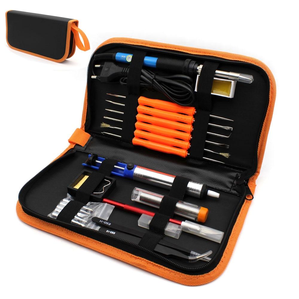 EU Plug 220 V 60 W Temperatura Ajustável De Solda Elétrica Ferramenta de Reparo Kit + 5 pcs Dicas de Ferro de Solda Portátil pinças de faca Passatempo