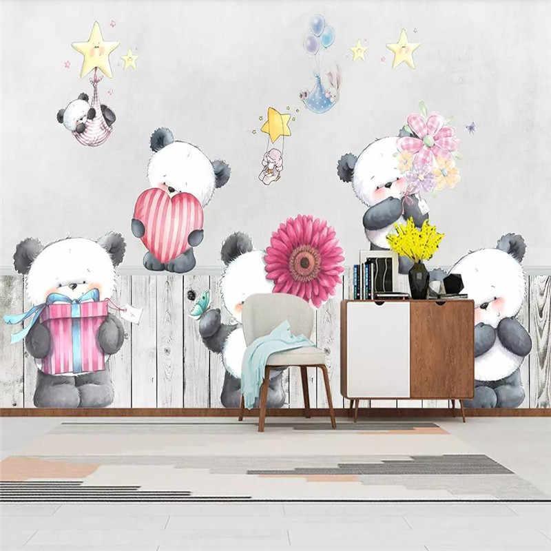 Custom Wallpaper Nordic Simple Cartoon Panda Children S House Background Wall Painting Waterproof Material Wallpapers Aliexpress