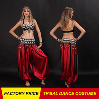 High Quality Cheap Tribal Belly Dance Costume For Women Belly Dancing Bra Belt Pant Set On