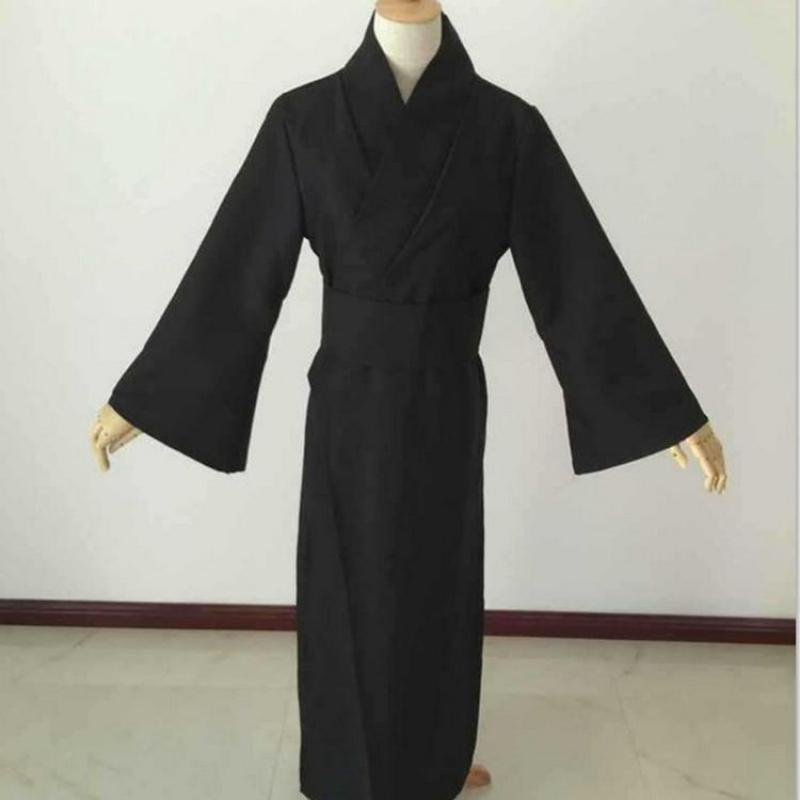 Japanese Style Men Classic Black Samurai Clothes Halloween Cosplay Costume Traditional Yukata Haori Warrior Kimono With Obi