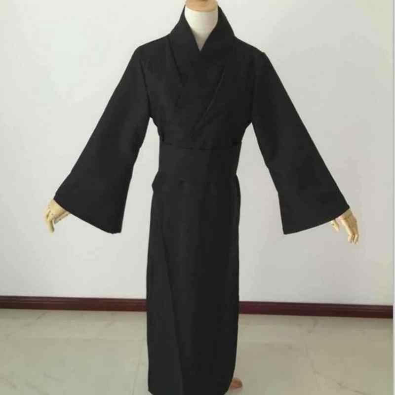 สไตล์ญี่ปุ่นผู้ชายคลาสสิกสีดำ Samurai เสื้อผ้าคอสเพลย์ฮาโลวีนเครื่องแต่งกายแบบดั้งเดิม Yukata Haori นักรบ Kimono กับ Obi