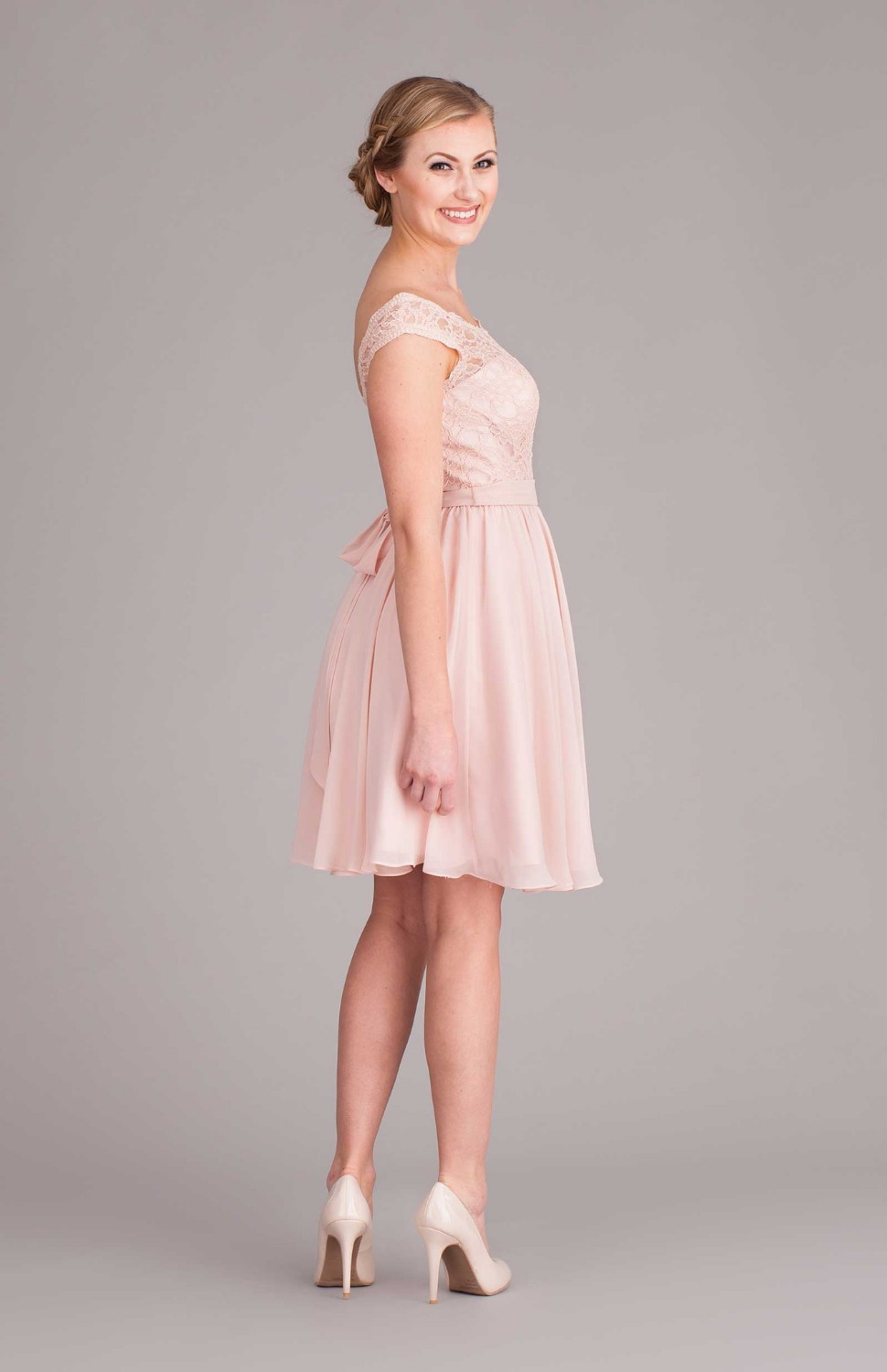 Pink Open back cap sleeve short lace bridesmaid dress with sashes ...