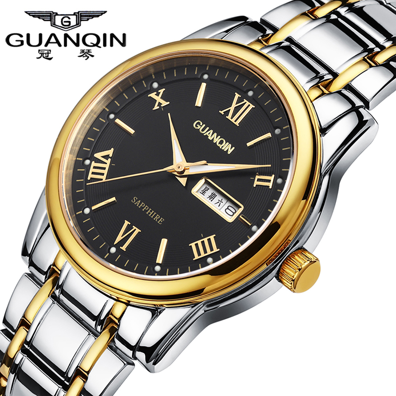 Luxury Brand GUANQIN Sports Watch Men Quartz Watches 30 m Waterproof Dress Luminous Watches Stainless Steel Wristwatch for Men didun watches men luxury brand watches mens steel quartz watches men diving sports watch luminous wristwatch waterproof